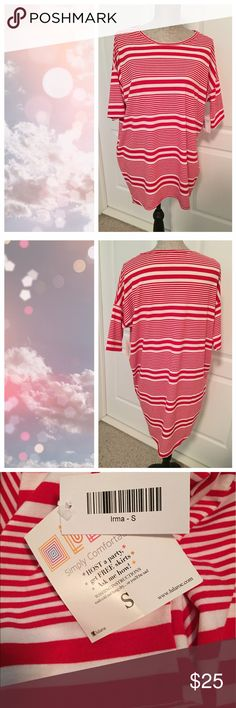 BNWT LuLaRoe Irma, Red and White Stripes Brand New With Tags Red and white stripes.  This is a classic that will go with so much!!!  ✔️Bundle and save 📦 ✔️Reasonable offers welcomed ❤ ✔️Dog friendly home 🐶 ✔️Mail quickly 📫 ❌No trades 👎🏼 ❌No modeling 🙈 ❌Cat free home 🐱 ❌Smoke free home 🚭 LuLaRoe Tops