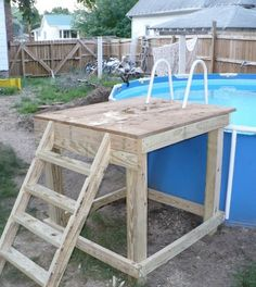 Above ground pools wood google search pool ideas for Above ground pool ladder ideas