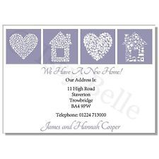 Personalised Change of Address, Moving House Cards - Hearts House Lilac- x 10