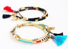 Beaded Bracelet Charm Bracelet Friendship por feltlikepaper en Etsy