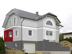 Fassadengestaltung. Design und Farbe mit Vorabvisualisierung Garden Planning, House Colors, Gray Color, Shed, Facade, Outdoor Structures, Mansions, Architecture, House Styles