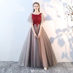 Elegant Grey Prom Dresses 2018 A-Line / Princess Lace Appliques Crystal Scoop Neck Backless Short Sleeve Floor-Length / Long Formal Dresses