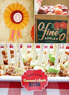 Adorable Sweetie Pie County Fair {Fall Themed First Birthday}. Caramel apple bites - GENIUS