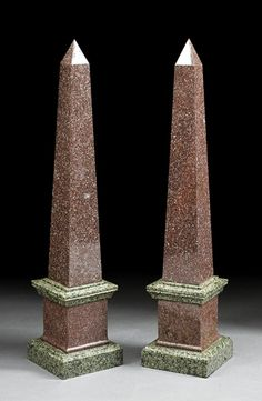 A Pair of Neoclassical Marble and Granite Obelisks, of typical form, height 32 1/2 in., width 7 in., depth 7 in