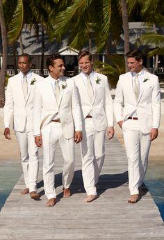 Lauren Ralph Lauren Wedding: When your groomsmen look this handsome in their suits, shoes are optional.