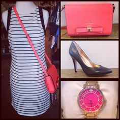 Jessica Simpson black and white stripe dress, 2-8, $118.99. Paired with black BCBG heels, 6-10, $89.99. Add a pop of color with a pink Kate Spade shoulder bag $267.99 and watch $225.99! Shop with us through Facebook