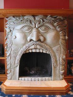Poseidon fireplace sculpture... love it.