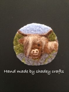 cute country inspired textile art design perfect for an equestrian jacket or birthday gift for mums and friends who love country pursuits Needle Felt Highland Cow Brooch