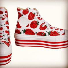 Converse all star platform in strawberries! Visit SweetStrawberryClothing.com if u'd like to purchase ❤️ #converse #shoes #strawberry #strawberries #strawberryshoes #strawberryconverse