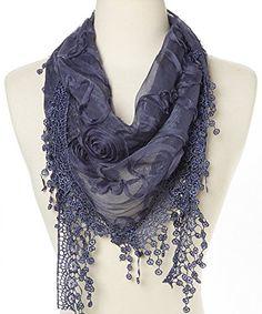 Flower Lace Silk-blend Scarf / Knit Oblong Cotton Scarf (Navy). 13'' x 53''. 70% polyester / 30% silk. Women Flower Lace Silk-blend Scarf. Fashion Triangle Floral Scarf.