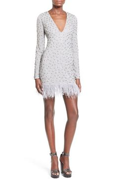 Missguided Embellished Feather Trim Minidress available at #Nordstrom