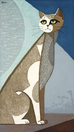 """Cat in the Moonlight"" Color woodcut 22 5/8"" x 12 3/4"" by Inagaki Tomoo (Japan, 1902-1980) Edition: 35/50"