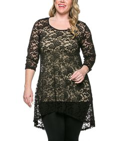 Look at this Black Lace Hi-Low Tunic - Plus on #zulily today!