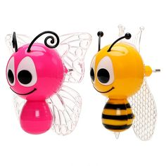Colorful Bee/Butterfly LED Night Light  Price: 14.95 & FREE Worldwide Shipping  #green #greenliving #ecofriendly #lifestyle Animal Night Light, Baby Night Light, Led Night Light, Butterfly Design, Light Colors, Cute Babies, Bee, Kawaii, Colorful