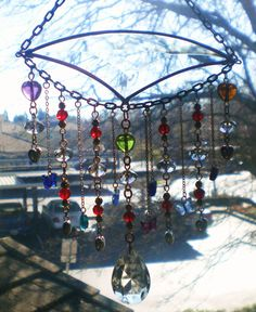 Garden Jewelry-Beautiful Crystal Glass Beaded and Bevel Hanging for Your Garden or Patio