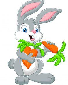 Cartoon rabbit holding a carrot Cartoon Cartoon, Cartoon Drawings Of Animals, Cute Cartoon Animals, Cartoon Rabbit, Tatty Teddy, Easter Art, Easter Bunny, Doodle Drawings, Cute Drawings