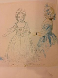 On New Years Day 1844, Vicky, aged 3, was dressed up in a blue and white silk dress copied from a west portraits of Princess Charlotte.
