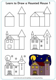 Learn to Draw Halloween Pictures Drawing Tutorials For Kids, Art Drawings For Kids, Drawing Projects, Drawing Lessons, Doodle Drawings, Easy Drawings, Doodle Art, Art Lessons, Art For Kids