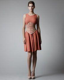 Alexander McQueen Full-Skirt Jersey Dress & Latticework Corset Belt