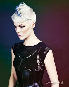 2014 white short blue streak - Hairstyle Gallery