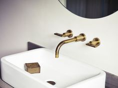 Handmade facets and taps from Studio Ore in England. The Wall-Mounted Basin Taps are also available in polished brass and matte black; Wall Taps, Wall Mounted Basins, Wall Mount Faucet, Brass Bathroom, Attic Bathroom, Concrete Bathroom, Washroom, Bathroom Interior Design, Bathroom Styling