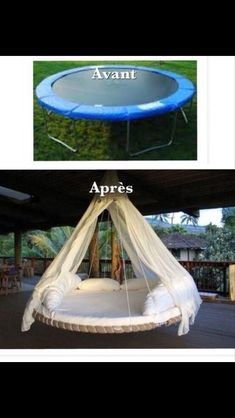 Turn a trampoline into an outside bed!