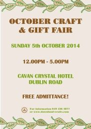 Autumn craft and gift fair held annually in the Slieve Russell Hotel, Ballyconnell, Co. Approximately 30 tables of handmade crafts, supplies & gifts. October Crafts, Event Organization, Event Calendar, Fall Crafts, Craft Gifts, Handmade Crafts, Events, Autumn Crafts, Kid Craft Gifts