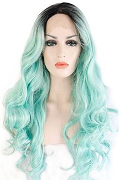 Ebingoo Ombre Green Wavy Synthetic Lace Front Wig Glueles...