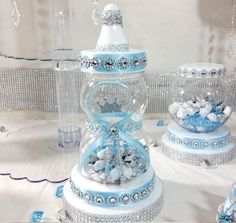 Baby Shower Centerpiece For Prince Baby Shower/Boys Royal Baby Blue & Silver Baby Centerpiece/Prince Baby Shower Themes and Decorations