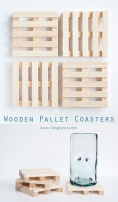 How fun are these wooden pallet coasters?!  They'd make a great gift too! | www.1dogwoof.com