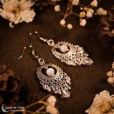 """Boucles d'oreille pierre de lune & cristal de roche - """"Paysage Endormi"""""""