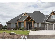 Country House Plan Front Photo 05 - Craftsman Ranch House | One Story Craftsman House Plan<br> Craftsman Ranch, Craftsman Exterior, House Paint Exterior, Exterior House Colors, Rustic Houses Exterior, Shingle Style Homes, Craftsman Style Homes, Ranch Style Homes, Craftsman House Plans
