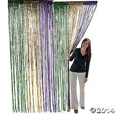 Mardi Gras Fringe Curtain; Oriental Trading, 8' long x 3' wide, $6.50 each