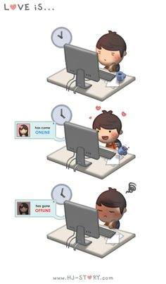 HJ-Story :: Online Offline ~ <3 Loved & pinned by http://www.shivohamyoga.nl/ #love #quotes #quote #lovely #cute #loveis #cartoon #warm #hope #live #life #hope #hjstory #adorable