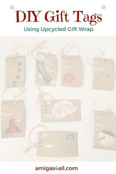 DIY Christmas Gift Tags with Upcycled Gift Wrap. Learn how to make a last minute gift tag when you run out and don't have time to go out to buy gift tags.