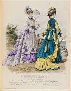 1874 Victorian first bustle period fashion plate Vintage Gowns, Mode Vintage, Vintage Ladies, Vintage Outfits, 1870s Fashion, Victorian Fashion, Vintage Fashion, Victorian Era, Viktorianischer Steampunk