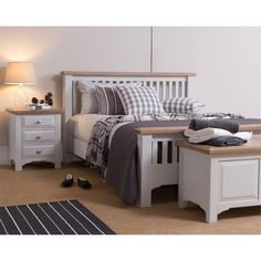 Shop our gorgeous Georgia Grey Painted Oak Collection today including this Bed Bedside and Blanket Box Dream Bedroom, Home Bedroom, Bedroom Decor, Bedroom Ideas, Teen Bedroom, Master Bedrooms, Bedroom Inspo, Modern Bedroom Furniture, Home Furniture