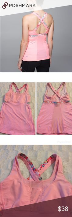 Lululemon Stuff Your Bra II Tank Beautiful Pink with Floral Detail tank! Two tiny pulls (top of last picture) but otherwise excellent condition. Size 4 lululemon athletica Tops Tank Tops