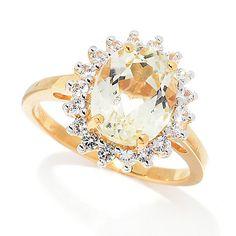167-287 - Gemporia 3.19ctw Canary Spodumene & White Zircon Halo Ring