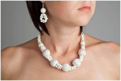 Wooden beads covered in white silky yarn, combined with small white coral beads. Matching earrings are available naturally. Bridal Accessories, Wedding Jewelry, Pearl Necklace, Beaded Necklace, Jewelry Design, Unique Jewelry, White Beads, Wooden Beads, Statement Jewelry