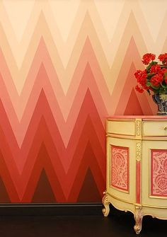 England stencil company The Stencil Library can help you to fake the look of wallpaper with this zigzag stencil.