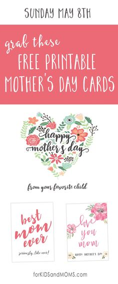 Mothers Day Messages and Free Printable Mothers Day Cards @forkidsandmoms