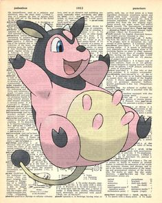 Miltank Pokemon Dictionary Art Print by MollyMuffinsPrints on Etsy