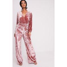 Head online and shop this season's range of jumpsuits at PrettyLittleThing. Velvet Jumpsuit, Killer Heels, Pink Velvet, Crushed Velvet, Dusty Pink, Party Wear, Feminine, Personal Shopping, Pattern Ideas