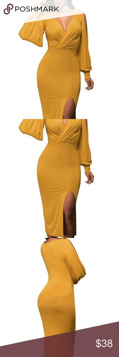 Slit Midi Dress Mustard yellow midi dress with side slit. Also has slits along the sleeve. Available in red. Nwot Dresses Midi