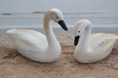 Set /2 PAIR White SWAN Goose Duck Decoy Country Primitive Figurine Carved Resin..$18.99