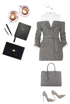"""Work hard, play hard"" by zsuzsannaa ❤ liked on Polyvore featuring Monse, Casadei, Prada, Smythson, John Lewis, Clarins and Vivienne Westwood"