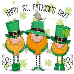 Buy St Patricks Greeting Card with Three Leprechauns by on GraphicRiver. St Patricks greeting card with three cute cartoon leprechauns Saint Patricks Day Art, St Patricks Day Cards, St Patricks Day Quotes, Happy St Patricks Day, St Patricks Day Clipart, Fete Saint Patrick, Sant Patrick, O Leprechaun, Leprechaun Clipart