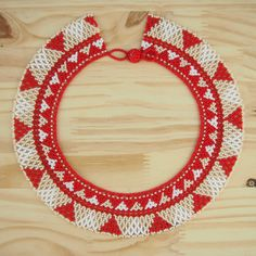 Collier perles Okama rouge fait main