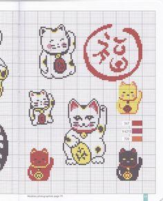 Free Cross Stitch Pattern - Maneki Neko